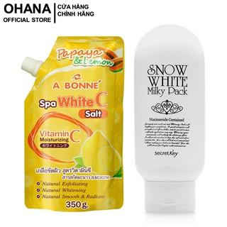 Combo Kem Tắm Trắng Secret Key Snow White Milky Pack 200g Và Muối Tắm Tẩy Tế Bào Chết, Trắng Da A Bonne Vitamin C 350g thumbnail