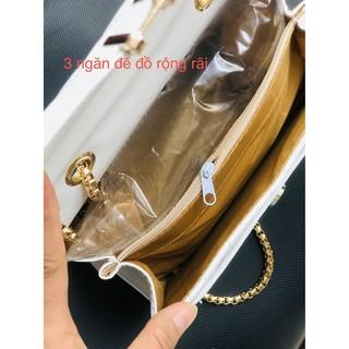 Túi Xách Nữ đeo chéo, đeo vai trần trám bút chì da mềm, 3 ngăn khóa gập - Minbag
