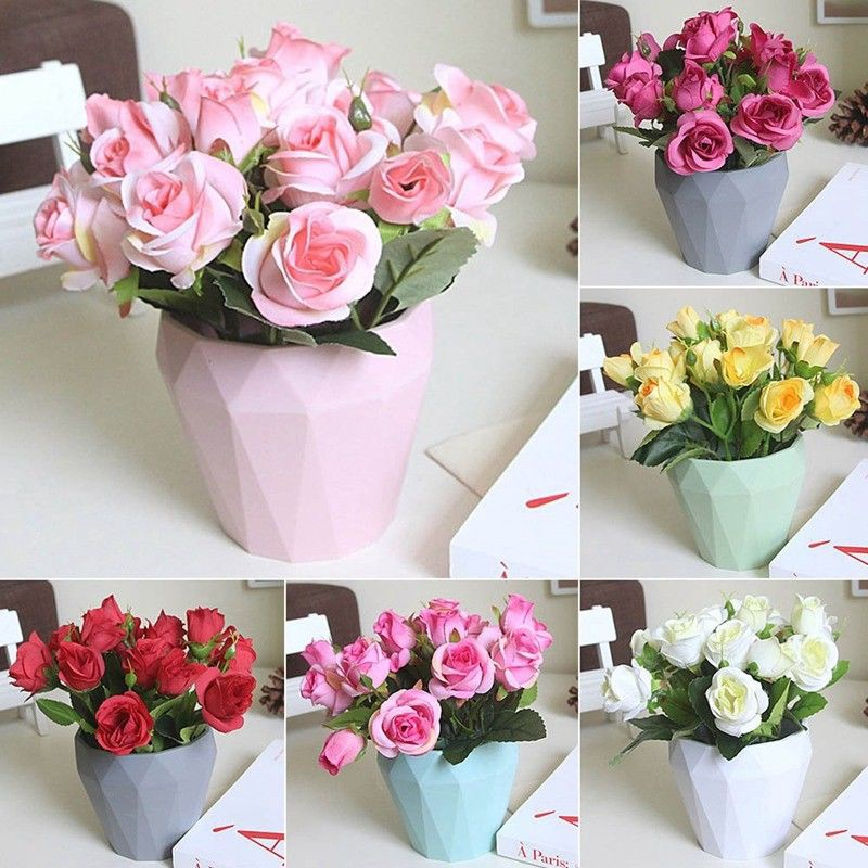 Artificial Potted Flower Plant Rose Silk Flower Bonsai Office Home Decor Gift