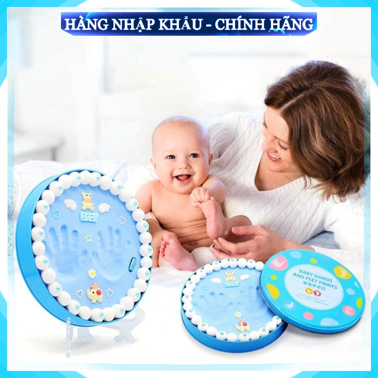 [FreeShip_Hàng Loại 1] Bộ khung hộp in dấu vân chân tay chân cho bé sơ sinh lưu dữ kỷ niệm bằng đất sét