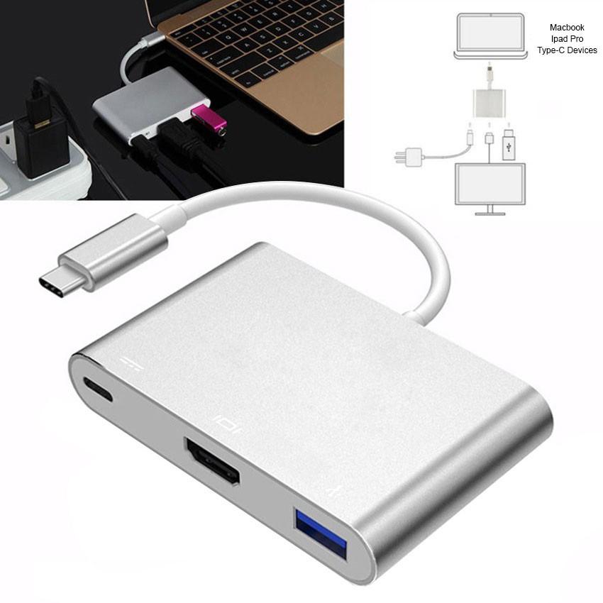 Bộ Adapter cáp chuyển Type-C sang HDMI 4k/USB/TypeC 3 trong 1 cho Macbook, iPad dùng trong trình chiếu