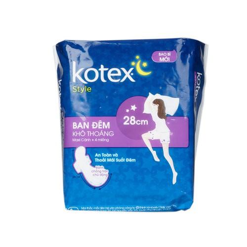 Băng Vệ Sinh Kotex Style Maxi Ban Đêm Có Cánh 4 Miếng 28cmx4