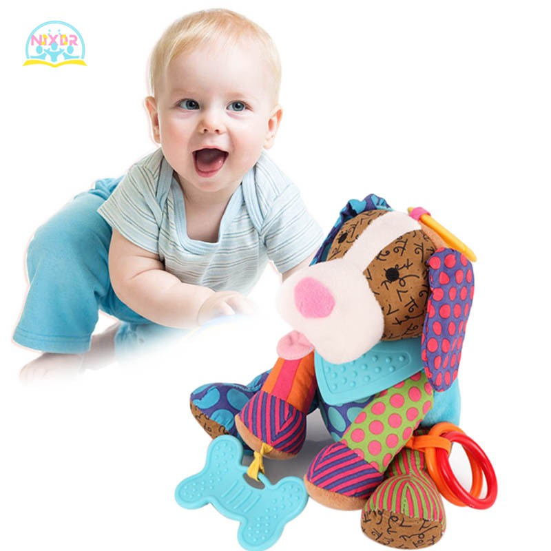 NR Adorable Animal Plush Doll Soft Baby Rattles Toys with Teether Bed Hanging Animal Toy for Kids
