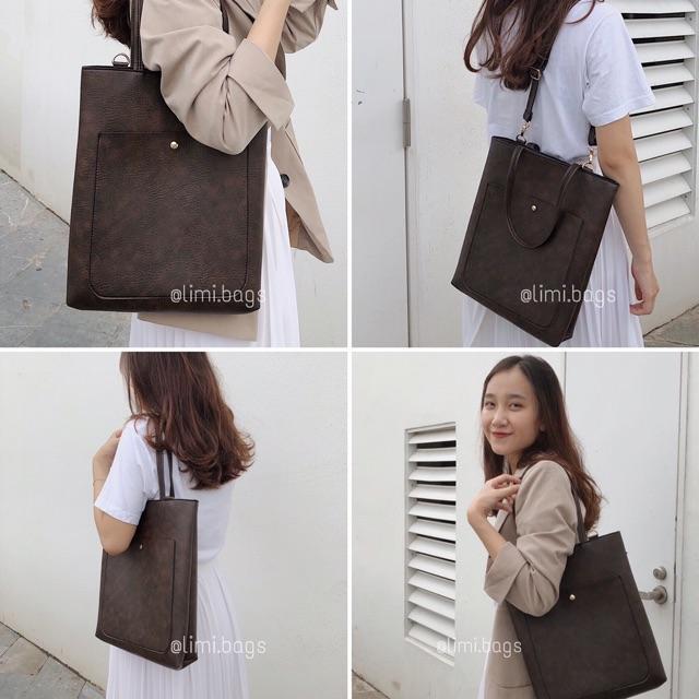 Túi Da nữ Lucky Tote thời trang đi học đi làm công sở phong cách Hàn Quốc đẹp Limi Bags