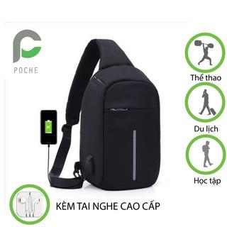 Túi đeo chéo nam nữ, balo mini cao cấp có cổng sạc điện thoại đựng được máy tính bảng