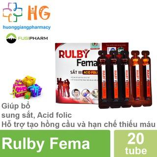 Rulby Fema - Giúp bổ sung sắt, Acid folic Hỗ trợ tạo hồng cầu và hạn chế thiếu máu (Hộp 20 ống) thumbnail