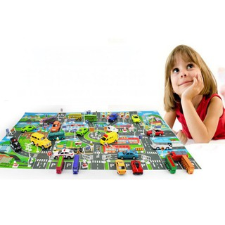 Children's Toy Car Simulated City Parking Area Roadmap + 10 Mini Rally Cars