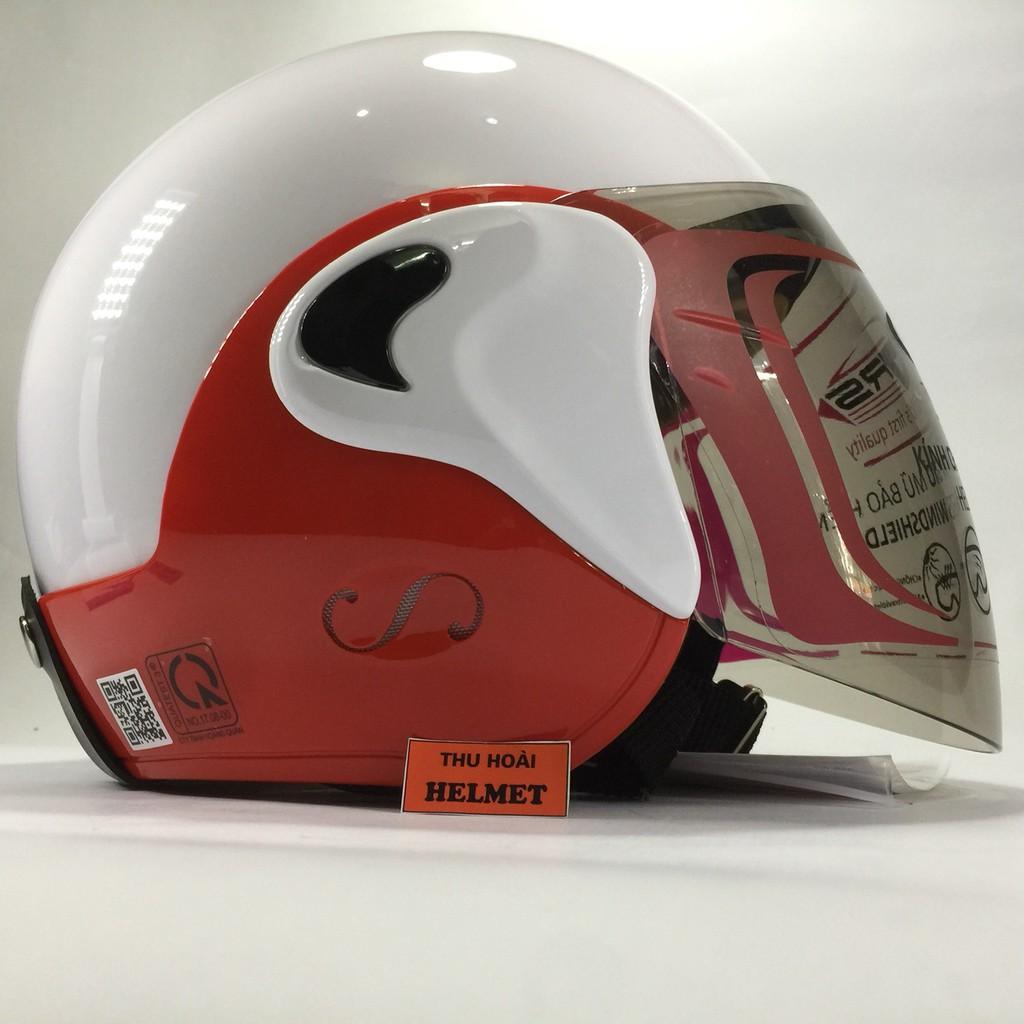 Mũ bảo hiểm GRS A318K trắng line đỏ