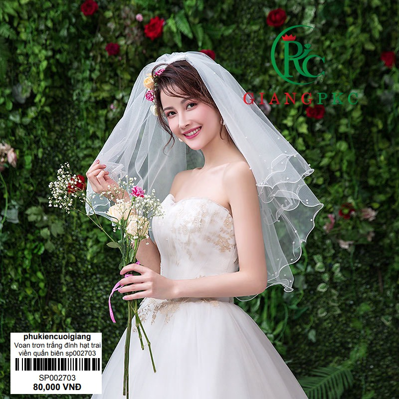 Voan trơn cài tóc cô dâu trắng đính hạt trai viền quấn biên sp002703