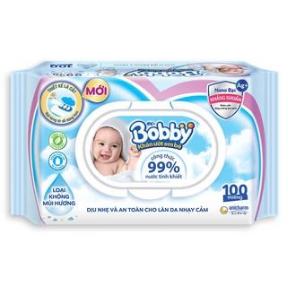 [Nhập MKBMBOB1105 giảm 6% đơn 469k] Khăn ướt Bobby không mùi 100 miếng (Xanh)