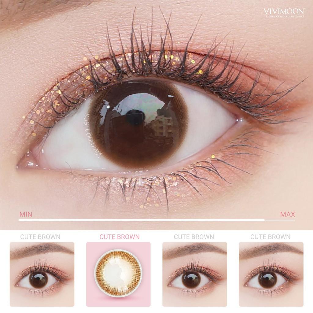 ☑Lens Cận Màu Nâu Tự Nhiên Cho Mắt Thở Vivimoon – Kính Áp Tròng Hàn Quốc Chính Hãng Cute Brown 13.1 mm