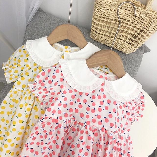 Váy trái cây cổ cánh sen điệu đà cho bé