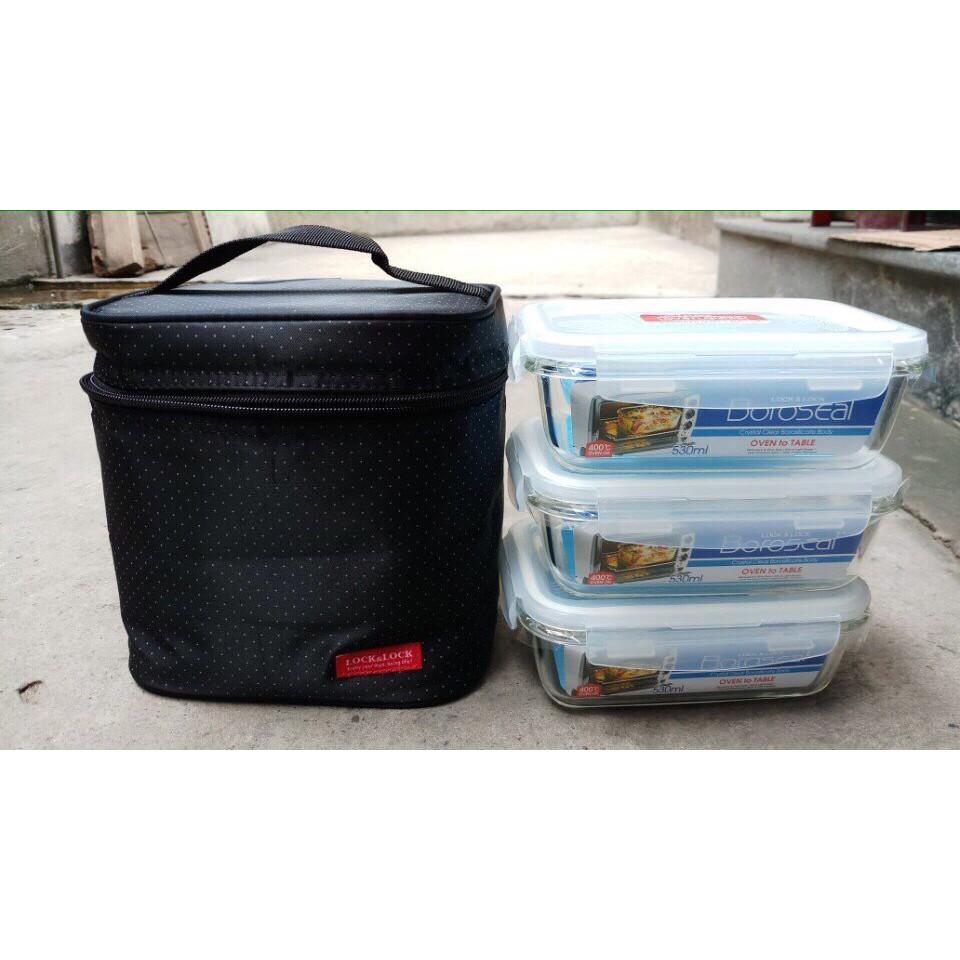 Bộ hộp cơm thủy tinh kèm túi giữ nhiệt Lock&Lock LLG426S3
