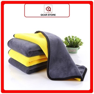 Khăn lau xe hơi, ô tô 2 lớp màu vàng cao cấp siêu sạch siêu thấm hút -Qcar Store thumbnail