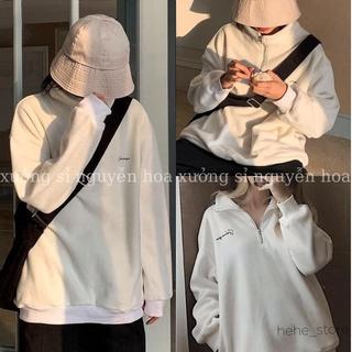 Áo nỉ unisex - áo nỉ khóa cổ thêu chữ ngực form rộng unisex nam nữ mặc được màu trắng basix Xưởng Sỉ Nguyễn Hoa thumbnail