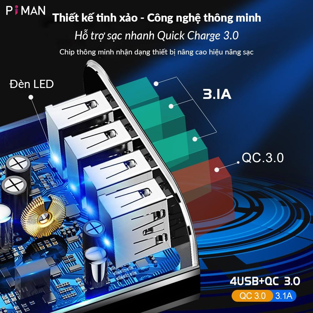 Củ sạc nhanh di động quick charge 3.0 18w cho iphone samsung sạc nhanh kéo dài tuổi thọ cho pin Piman P211