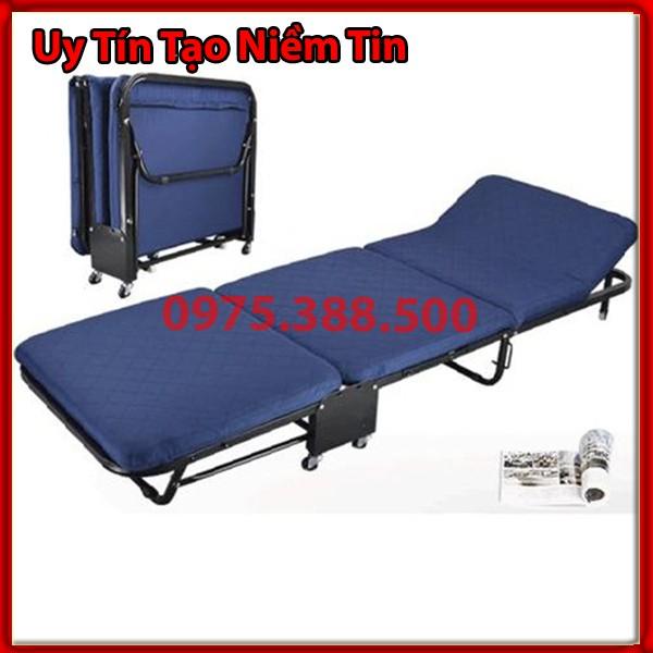 Giường gấp nâng đầu 3 đoạn GB rộng 65 cm màu xanh
