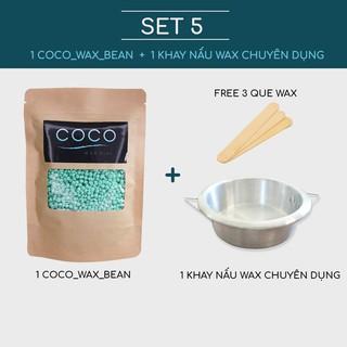 1 sáp wax lông Coco Wax Bean + Dụng cụ nấu wax lông (free que wax)(cb-1)