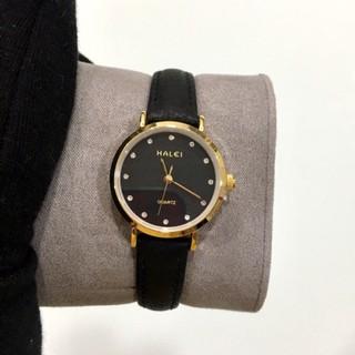 Đồng hồ Halei nữ mặt đen dây da đen chống nước