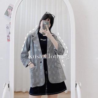 [Mã FASHIONG30 hoàn 15% tối đa 30K xu đơn 150K] Áo Blazer kẻ trắng đen túi nắp hot hit ( hình thật/sẵn)