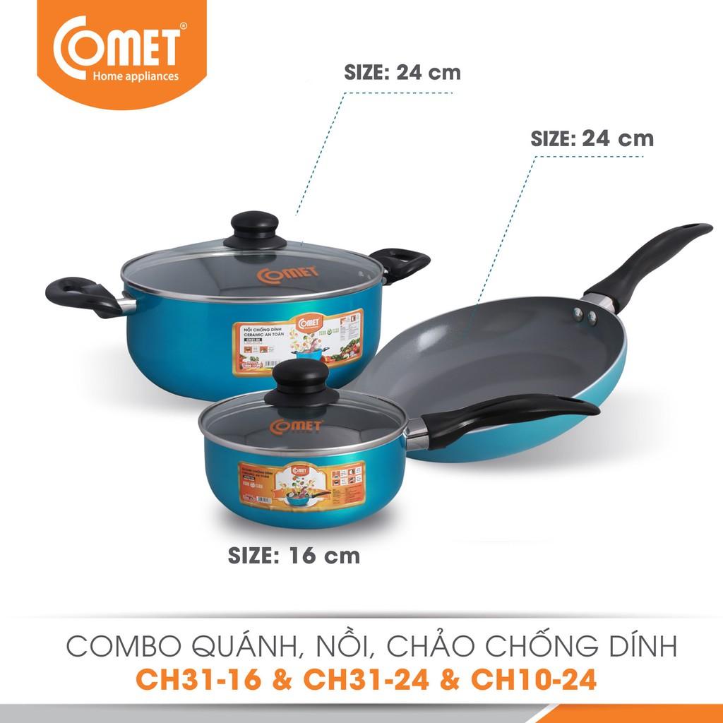 Combo Nồi & Chảo & Quánh chống dính Ceramic Comet CH10-24 & CH31-16 & CH31-24