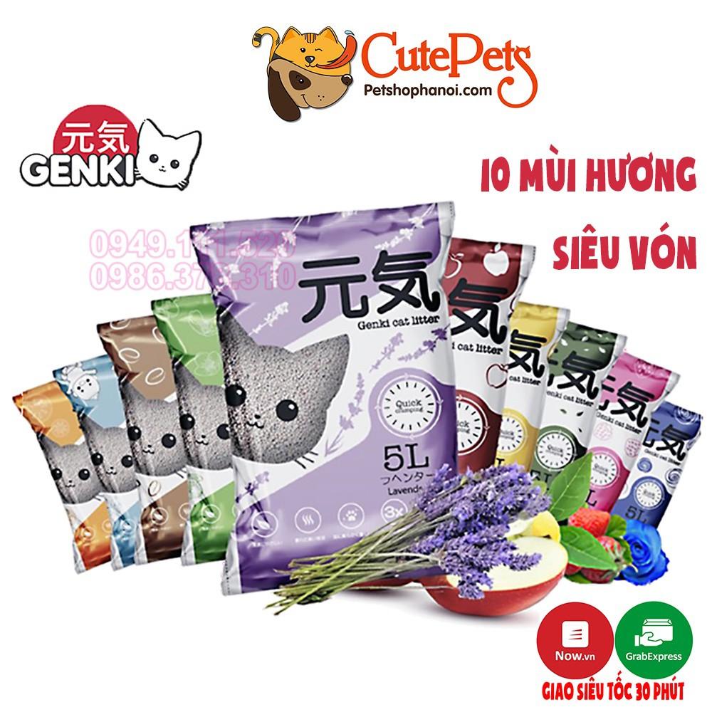 Cát vệ sinh cho mèo GENKI Litter 5L Cát mèo giá rẻ khử mùi tốt - CutePets Phụ kiện chó mèo Pet shop Hà Nội