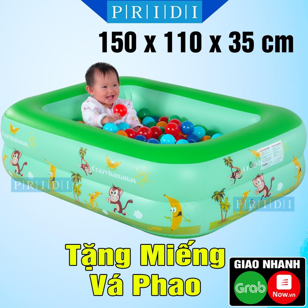 Bể Bơi Cho Bé 2 TẦNG 1M50 Màu Xanh Lá Loại Dày (Tặng Miếng Vá Phao) - Hồ Bơi Phao Bơi Cho Bé, Phao Bơi Trẻ Em PRIDI