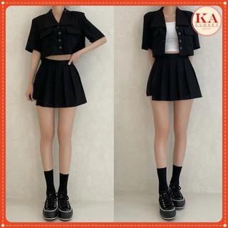 Set váy vest hộp KA Closet Set vest cực chất, áo vest hộp + quần giả váy tennis, chất umi siêu xinh, size M, L thumbnail