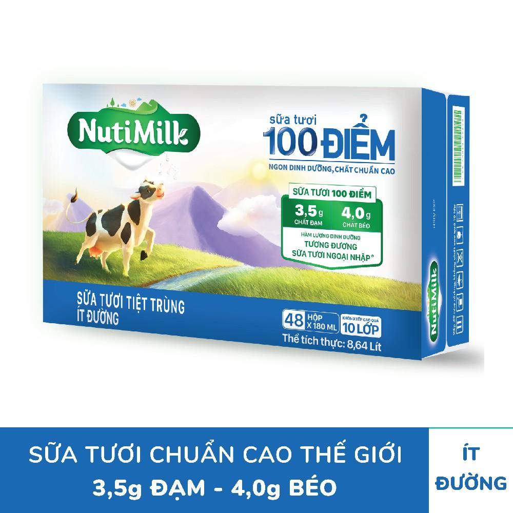 Thùng 48 hộp NutiMilk ST 100 điểm – ST tiệt trùng Ít Đường Hộp 180 ml/hộp
