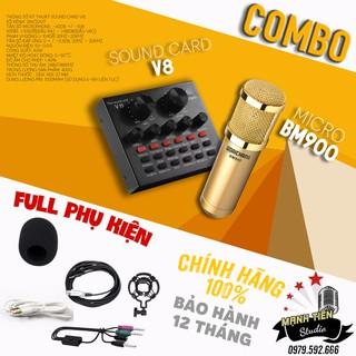 Bộ Sản Phẩm Soundcard V8 + Mic Karaoke Livetream BM 900, Có AutoTune Chuẩn Phòng Thu