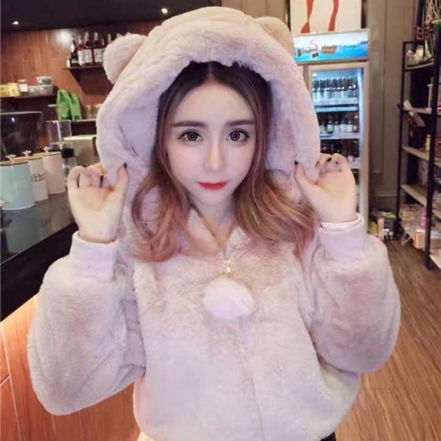 Áo khoác lông mũ tai gấu lông 2 mặt