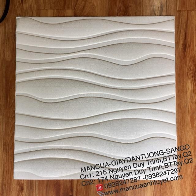 (Miền Nam)Xốp dán tuờng 3D vân sóng trắng 60x60cm