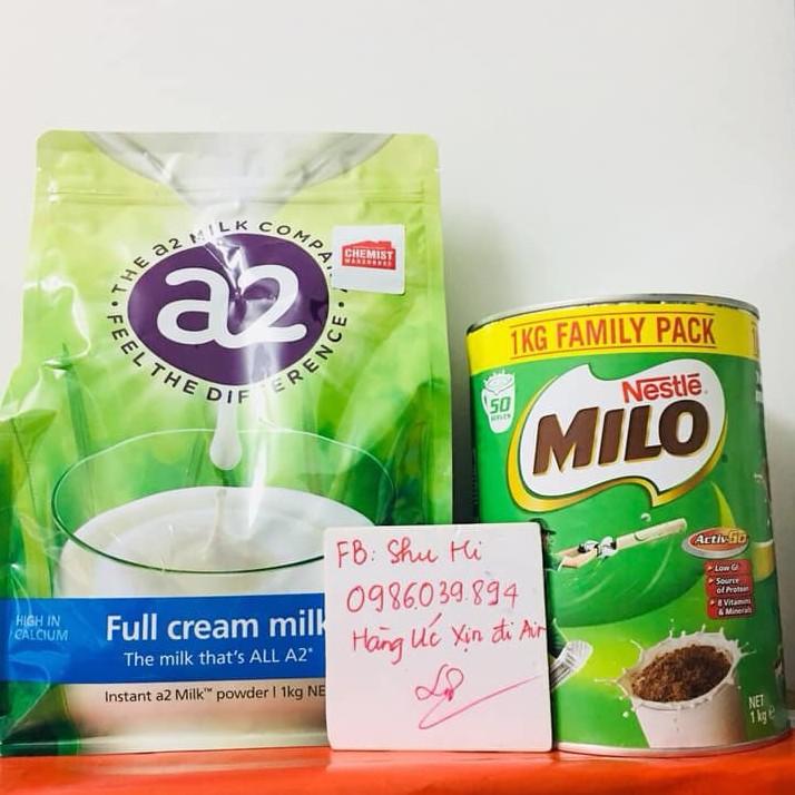 Combo sữa A2 full cream và Milo Úc 1kg