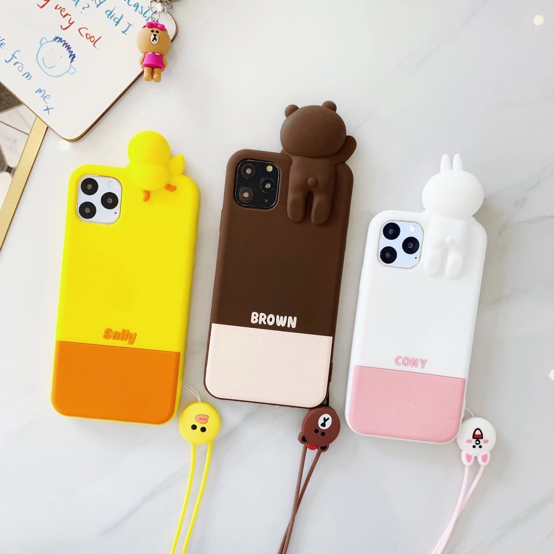 iPhone 11 Pro Max iPhone 6 6s 7 8 Plus XR Xs Max Cute Cartoon 3D Line Friends Brown Cony Sally Soft Silicone Rubber Case Cover