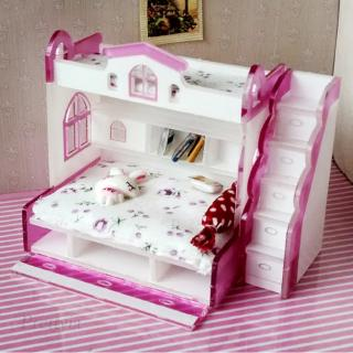 1/12 Scale Children Bunk Bed w/ Accessories for Dollhouse Bedroom Furniture