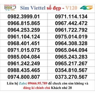 Sim Viettel V120 đầu 09 số đẹp giá rẻ 28