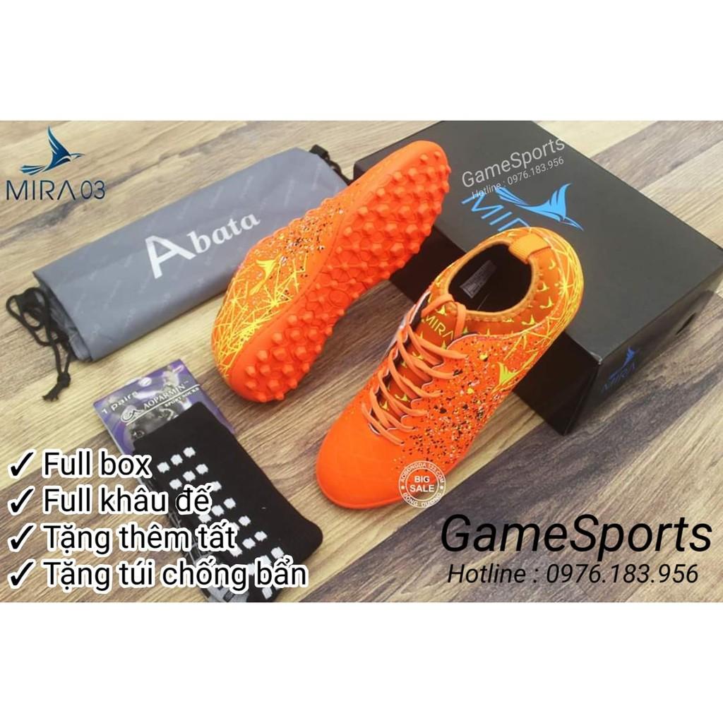 Giầy đá bóng Mira chính hãng MR03 cam ( giầy bóng đá cổ chun cao cổ MR 03 đế TF , giầy thời trang thể thao ) Bao giá tốt