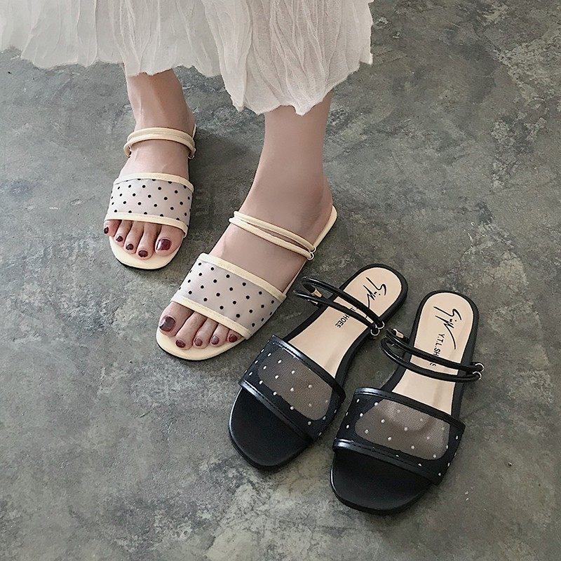 Polka Dot Slippers Women's Shoes Two Wear Women's Wear Flat Net Mesh Open Toe Sandals