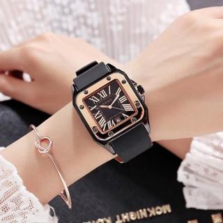 Đồng hồ G.O.U.O nữ mặt vuông dây silicon, bảo hành 12 tháng, tặng box