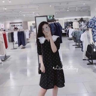 Váy Bầu chấm bi phối cổ bèo trắng V51 thumbnail