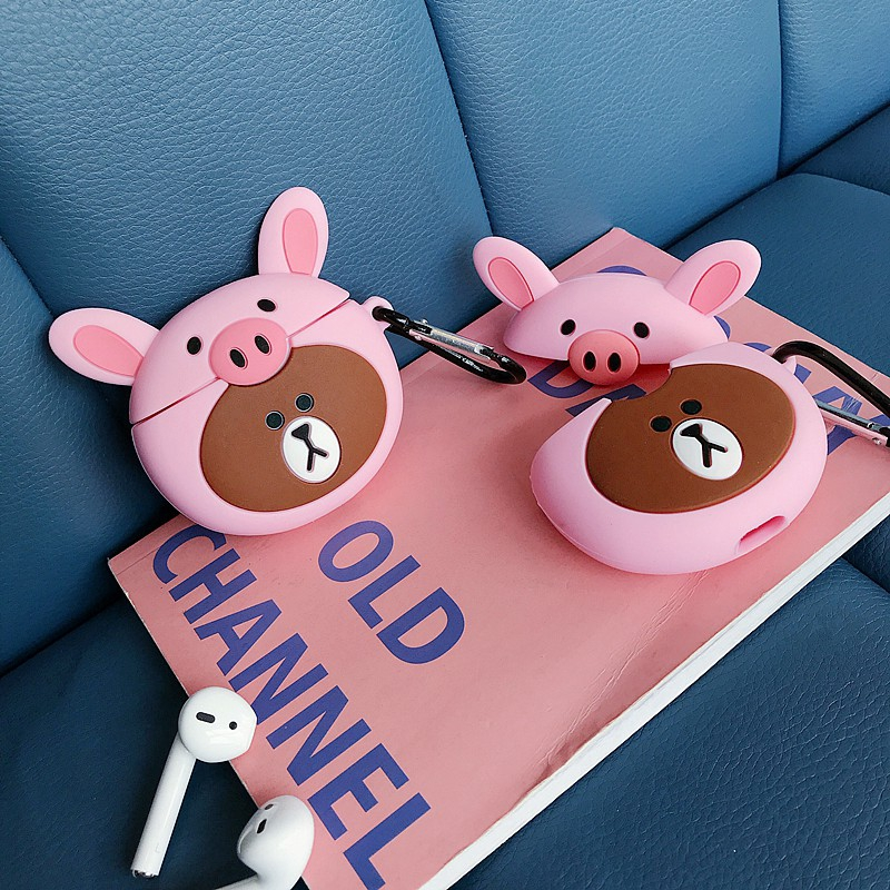 Pink Brown Bear Apple AirPods For Silicone case Shockproof Earphone Protective Cover Waterproof