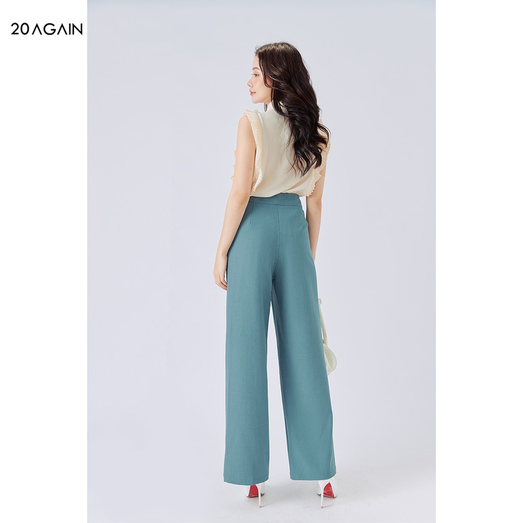 Mặc gì đẹp: Đẹp với Quần âu cạp rời 2 cúc cá tính 20AGAIN, thiết kế quần ống rộng QAA1248
