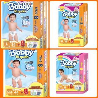 [LỰA CHỌN QUÀ] Tã Quần Bobby túi đại M60, L54, XL48, XXL44,XXXL24