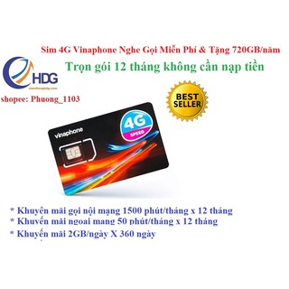 [Miễn phí 1 năm] SIM 4G Vinaphone 2Gb- 4Gb / ngày Và Gọi 12 Tháng Không Cần Nạp Tiền VD8912T/12D60G 12VD149