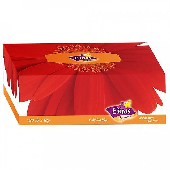Hộp Khăn Giấy E'mos Premium 3 Hoa 2 Lớp (180 tờ)