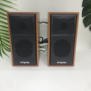 Loa vi tính mini 2.0 Arigato FT102, Loa mini giả ghỗ  siêu nhỏ gọn rất phong cách