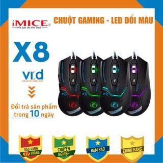 Chuột cho máy tính có dây chuyên Gaming iMICE X8 Led đổi màu Độ nhạy max 3200 DPI thumbnail