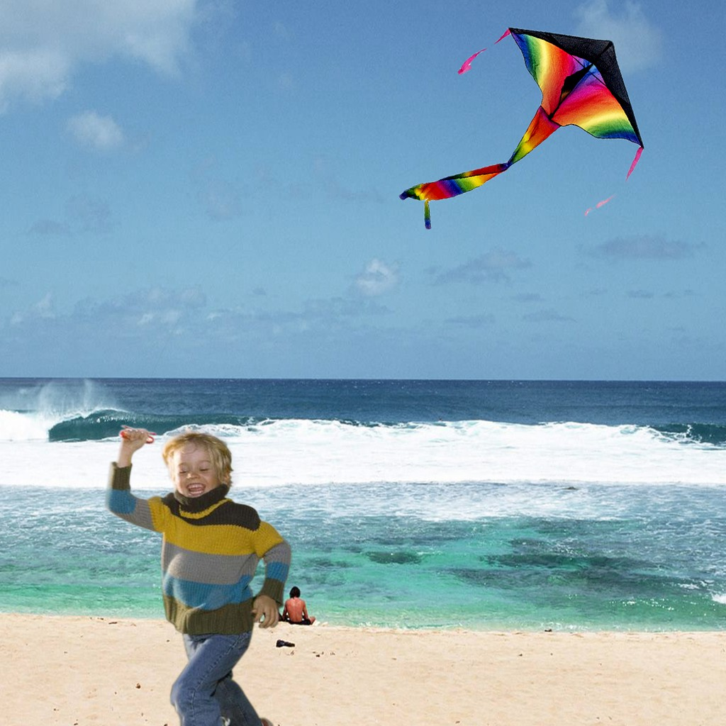 Sky Dancer Toy Kite Polyester Fiberglass Triangle Flying Kite with Long Tail