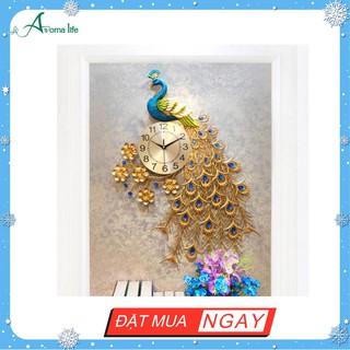 Đồng Hồ Treo Tường Hiện đại Chim Công Đậu 688 - Tặng bộ đồng hồ kim trôi