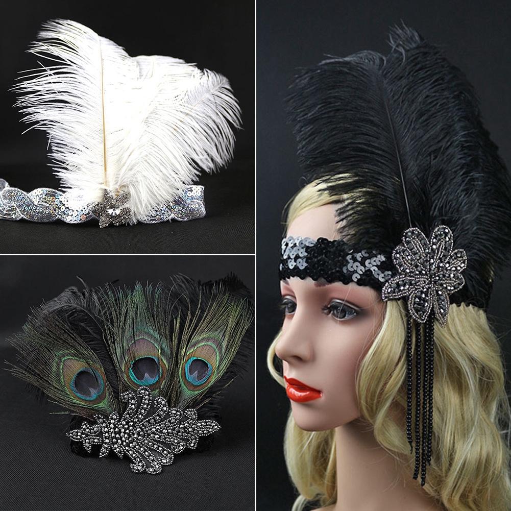 Women Headpiece Hair Accessories Halloween Head Wrap Flapper Band Vintage Feather Sequins Headdress Decoration